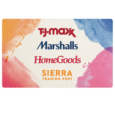 MARSHALLS<sup>&reg;</sup> $75 Gift Card - Brands that WOW. Prices that THRILL! At Marshalls, you'll find a surprising selection of brand name and designer fashion for your whole crew and your home, at wow-worthy prices. The TJX gift card is redeemable at over 2800 Marshalls, T.J.Maxx, HomeGoods, and Sierra stores (in the U.S. and Puerto Rico) and online at tjmaxx.com and sierra.com. One gift card means endless ways to save.