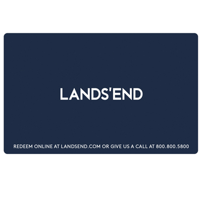 LANDS' END<sup>&reg;</sup> $50 Gift Card - A classic American lifestyle brand with a passion for quality, legendary service and real value, delivering timeless style for men, women, kids and the home.  Specialty catalogs are available for Men, Women, Kids, Home, Lands' End Plus and School Outfitters.  Gift cards are redeemable online or with catalog order. Visit them at www.landsend.com, or to request a catalog by phone 800-800-5800.